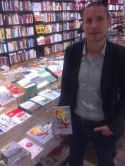 At La Central del Raval bookstore in Barcelona, during visit to promote the Castilian translation of Peace, Love, and Petrol Bombs