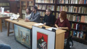 At Taifa Libres bookstore in Barcelona, with the publishers and translator of Peace, Love, and Petrol Bombs